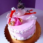 tort baby shower bocian